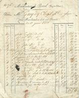 JUIN 1833 - FACTURE MANUFACTURE DE RAVEL (63 - PUY DE DÔME) - FAÏENCE, VAISSELLE - France