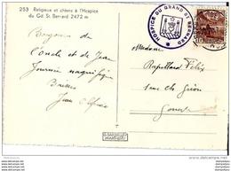 76 - 86 - Carte De L'Hospice Du Gd St Bernard / Valais  - 1947; Cachet Illustré De L'hospice - Storia Postale