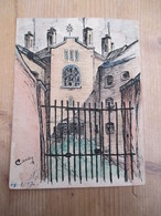 Gent Gevangenis Nieuwe Wandeling 1945 Originele Tekening 11 Op 15 Cm - Other Collections