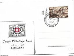 """76 - 95 - Carte Avec Oblit Spéciale """"Congrès Philatélique Suisse 1941"""" Lausanne - Marcophilie"""