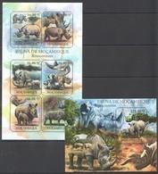 BC1064 2011 MOZAMBIQUE MOCAMBIQUE FAUNA ANIMALS RHINO RINOCERONTES 1SH+1BL MNH - Neushoorn