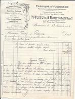1929 - Fabrique D'Horlogerie M. TOUTOY & A. BERTHOLON Succrs 12, Rue De L'Industrie BESANCON - France