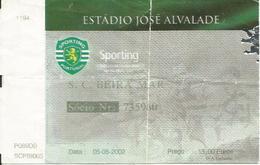 Football Ticket From Portugal SPORTING LISBOA-S.C.BEIRA MAR  2002. - Tickets D'entrée