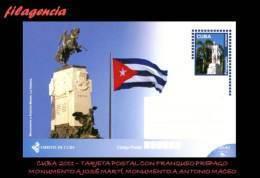 CUBA. ENTEROS POSTALES. TARJETA POSTAL FRANQUEO PREPAGO. 2011 TURISMO & CULTURA. MONUMENTOS A JOSÉ MARTÍ & ANTONIO MACEO - Cuba