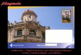 CUBA. ENTEROS POSTALES. TARJETA POSTAL FRANQUEO PREPAGO. 2011 TURISMO & CULTURA. VITRAL COLONIAL. HOTEL RAQUEL. HABANA - Cuba
