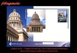 CUBA. ENTEROS POSTALES. TARJETA POSTAL FRANQUEO PREPAGO. 2011 TURISMO & CULTURA. AUTO ANTIGUO. CAPITOLIO NACIONAL - Cuba