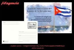 CUBA. ENTEROS POSTALES. TARJETA POSTAL FRANQUEO PREPAGO. 2011 TRIUNFO DE LA REVOLUCIÓN. FIN DE AÑO. BANDERA CUBANA - Cuba