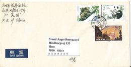 P. R. Of China Cover Sent To Denmark 3-3-1996 Topic Stamps Incl. PANDA - 1949 - ... People's Republic