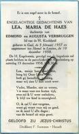 Lea De Haes  :  Geel 1957  - Leuven 1958   (see Scans)   KIND - Imágenes Religiosas