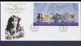 New Zealand FDC 2000 The Queen Mother Souvenir Sheet  (NB**LAR9-105) - FDC