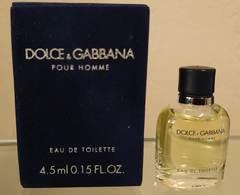 POUR HOMME - EDT 4,5 ML De DOLCE GABBANA - Miniaturas Modernas (desde 1961)