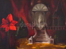 Jelzés Nélkül: Lépcső és Virág. Olaj, Karton, Kis Sérüléssel, Díszes Fa Keretben, 58×78 Cm - Andere Verzamelingen