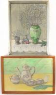 Két Asztali Csendéletet ábrázoló Akvarell. Egyik Jelzett. 40x30 Cm Üvegezett Keretben. - Andere Verzamelingen