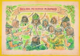 Olvashatatlan Jelzéssel: Robin Hood And The Teem Of Seerwood. Vegyes Technika, Papír, 42×60 Cm - Other Collections