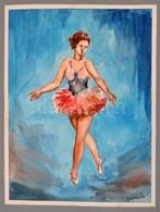 Olvashatatlan Jelzéssel: Balerina, Akvarell, Papír, Paszpartuban, 29x22 Cm - Other Collections