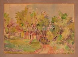 Olvashatatlan Jelzéssel: Ligetes Táj Házakkal. Akvarell, Papír, Foltos, 25×37 Cm - Other Collections