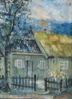 Elmosódott Jelzéssel: Házrészlet. Akvarell, Karton. 34x25 Cm - Other Collections