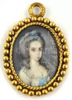 XIX. Sz: Miniatúra. Akvarell, Elefántcsont, Jelzés Nélkül. Réz Keretben. 3,8x3 Cm - Other Collections