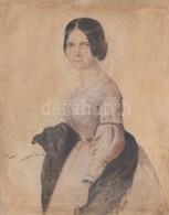 XIX. Sz. Közepe: Jelzés Nélkül: Szendrey Júlia Portréja. Akvarell, Papír. 14x20 Cm Üvegezett Keretben. - Other Collections