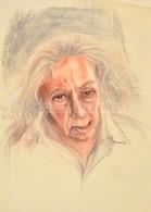 Jelzés Nélkül: Faludy György Portréja. Vegyes Technika, Papír, Gyűrődésekkel, 69,5x49,5 Cm - Other Collections