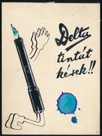 Jelzés Nélkül: Delta Tintát Kérek. Tus, Akvarell, Karton, 14×10,5 Cm - Other Collections