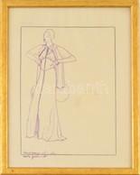 Jelzés Nélkül: Húszas évekbeli Divatrajzok. Tus, Pauszpapír, Felirattal, üvegezett Keretben, 29×21 Cm - Other Collections