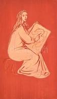 Jelzés Nélkül: Rajzoló Hölgy. Akvarell, Papír, 40×23 Cm - Other Collections