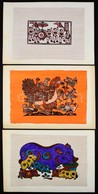 Jelzés Nélkül: Távol-keleti Stílusú Metszetek, Színezett, össz. 3 Db Mű. Papír, Papírra Kasírozva, Lapméret: 25,5×35,5 C - Other Collections