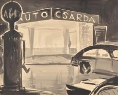 Jelzés Nélkül: Auto Csárda. Akvarell, Papír, Fa Kereteben, 38,5x48,5 Cm - Other Collections
