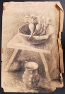 2 Db Női Portré Vegyes Technika, Papír, Jelzés Nélkül + Réti M Jelzésű Csendélet, Szénrajz, Több Szakadás, Gyűrődések, 3 - Other Collections