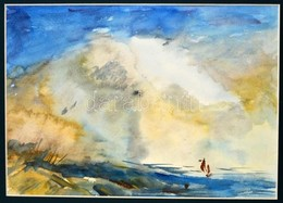 Jelzés Nélkül: Balatoni Vitorlás Akvarell, Karton, Paszpartuban, 22x31 Cm - Other Collections