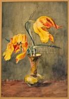 Jelzés Nélkül: Virágcsendélet. Akvarell, Karton, Paszpartuban, 33x23 Cm - Other Collections