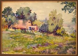 Jelzés Nélkül: Háza A Kert Alján. Akvarell, Papír, Paszpartubab, 25,5x36 Cm - Other Collections