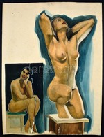 Jelzés Nélkül: Akt Stúdium. Ceruza, Akvarell, Papír, Sérült (szakadásokkal, Enyhén Foltos), 50×37 Cm - Other Collections