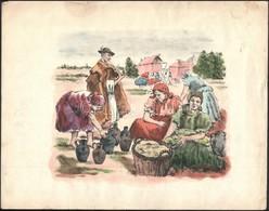 Jelzés Nélkül: Piac. Akvarellel Színezett Litográfia, Papír, Szélein Szakadásokkal és Foltokkal, Ca. 22x26 Cm - Other Collections