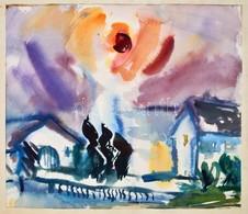 Jelzés Nélkül: A Nap Tüze. Akvarell, Papír, 31x36 Cm - Other Collections