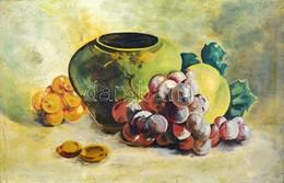 Jelzés Nélkül: Csendélet Gyümölcsökkel. Olaj, Vászon, Sérült Fa Keretben, 26,5×41 Cm - Other Collections