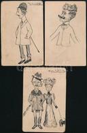 Jelzés Nélkül: 3 Db Tus Rajz (Korzó, Jogász, Bajszos Férfi, Cca 1900), Papír, Foltos, 13,5×9 Cm (3×) - Other Collections
