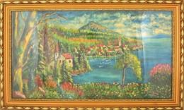 Jelzés Nélkül: Tóparti Falucska. Olaj, Falemez, Keretben, 50×90 Cm - Other Collections