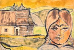 Jelzés Nélkül: Székely Női Arc és Ház. Monotípia, Papír, üvegezett Keretben, 41×61 Cm - Other Collections