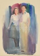 Jelzés Nélkül: Fiatal Pár. Akvarell, Papír, Jelzés Nélkül. Üvegezett Keretben, 27,5x19,5 Cm - Other Collections
