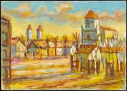 Jelzés Nélkül: Kisváros. Akvarell, Karton, 14,5×20,5 Cm - Other Collections