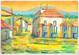 Szecsödy Jelzéssel: Falusi Templom. Tempera, Karton 15x21 Cm - Other Collections