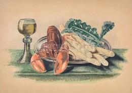 Jelzés Nélkül: Csendélet Rákkal, Spárgával. Akvarell, Karton. 28x50 Cm. - Other Collections