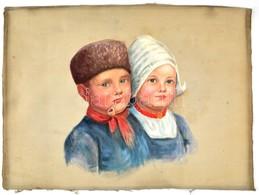 Jelzés Nélkül: Holland Gyermekek. Olaj, Posztó. 40x30 Cm - Other Collections