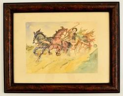 Jelzés Nélkül: Vágtató Lovaskocsi. Akvarell, Papír, üvegezett Keretben, 21×30 Cm - Other Collections