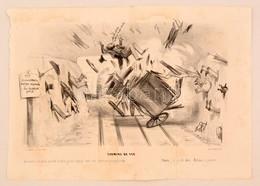 1839 Korai Vasutas Karikatúra. Kőnyomat / Early Caricature Regarding Railways. Lithographed Political Caricature. 24x32  - Engravings
