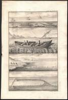 Cca 1770-1780 3 Db Halászati Témájú Rézmetszet, Kettő Metszője (Pierre Nicolas Ransonette (1745-1810), P. L. Cor (?-?),  - Engravings