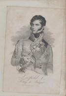 Cca 1830 I. Lipót Belga Király (1790-1865) Portréja, Acélmetszet, Karlruhe, Kreuzbauer, üvegezett Fa Keretben, 17x11 Cm  - Engravings