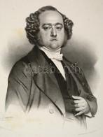 1853 Henri, Marquis De La Rochejaquelein (1805-1867) Francia Katona, Politikus Nagyméretű Kőnyomatos Portréja. Maurin Li - Engravings